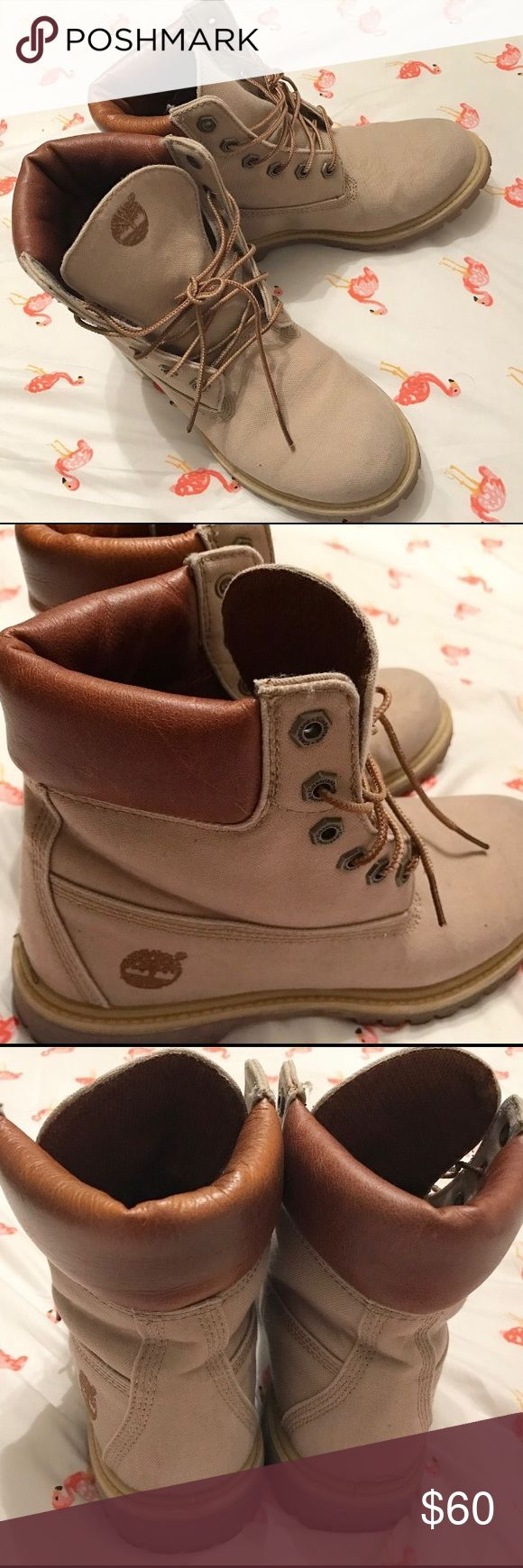 """TIMBERLANDS, BEIGE, Women's 7.5 Never been worn outside (they're too big for me)! These are like-new. Bottoms and insides are clean. Leather upper, with """"Anti-Fatigue"""" technology. US women's size 7.5. No box, sorry! Timberland Shoes Combat & Moto Boots"""