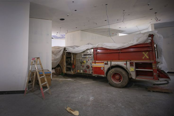 9/11 Memorial Museum. NYC Fire Dept's Engine Company 21 fire truck, which will be part of the permanent display, is seen inside the memorial museum.