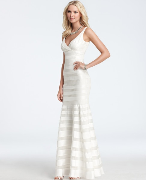 Ann Taylor - AT Dresses - Silk Georgette Mermaid Wedding Gown --- to look at a mermaid cut example...not sure you'll like the low-cut neckline: Wedding Dressses, Mermaid Wedding Dresses, Wedding Gown, Georgette Mermaid, Silk Georgette, Weddings, Mermaids, Ann Taylor, Taylors