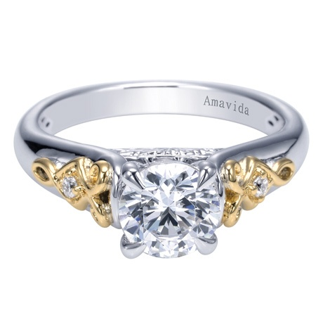 A Gabriel & Co. Amavida 18K Two-Tone Contemporary Straight Engagement Ring. You can always count on mixing and matching metals to make your jewelry stand out. The beautiful Gold tones spark up the engagement ring making the diamond center stone pop, sparkle, and shine!
