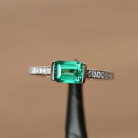 lab emerald ring engagement ring sterling silver by godjewelry