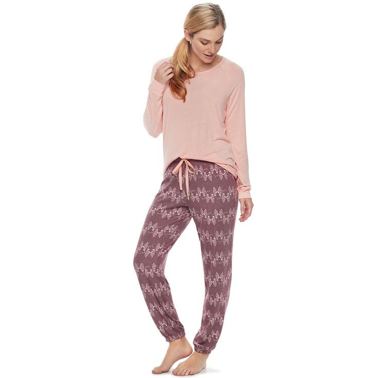 Women's SONOMA Goods for Life™ Pajamas: Long Sleeve Top & Pants 2-Piece PJ Set, Size: Small, Dark Red