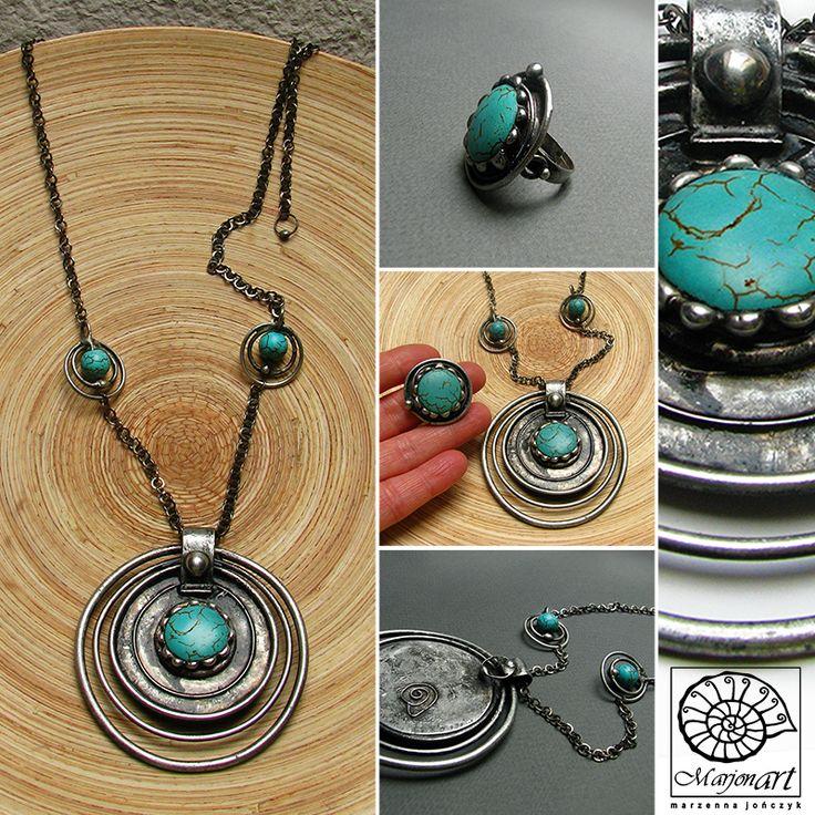 Pracownia Artystyczna Marjonart: 305   Marjonart #pierścionki #ring #rings #Ringe #кольца #anillos #ожерелье #kolia #necklace #turquoise #turkus #jewelry #jewel #jewellery #bijoux #ювелирныеизделия #design #jewelrydesigner #art #accessories #presents #handmade #biżuteria #rękodzieło #handmadejewelry #oxidized #vintage #natural #silver #exclusive #fashon #moda