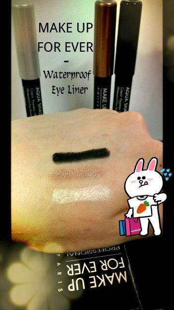 MAKE UP FOR EVER - Aqua Shadow Waterproof Eye Shadow Pencil 這幾支是我近期喜歡用的化妝品,它其實是一支肥肥嘅眼影筆。 顏色:1) 銀白。呢個色可以做highlight,畫眼頭和下眼線來加強眼神。 2) 啡色。佢會有二隻啡色,呢隻係淺色啲那隻,淺色啲會容易啲handle。佢會係深過你的皮膚少少,如果平日唔想化得太誇張,可以用佢畫條粗粗eyeline於眼摺位,咁就都好精神啦! 3) 黑色 。用佢來畫上內眼線都唔會化,讚!佢個黑色係幾實淨,好出色的。 質地:佢啲筆頭係好軟的,非常之容易咁畫到上眼。 用法:你可以當佢係眼線筆,幼幼的畫一條線就可以了。或者粗粗的畫一條線,然後用手指或化妝掃 blend 開 (不過要快,佢畫上去不久就會乾,之後就不脫色啦!),好容易就做到smoky eyes 啦!我朝早畫,晚上依然健在 (≧∇≦) 因為佢個筆芯太軟,而支筆身就硬,所以最好買埋佢嘅筆'炮',如果唔係好難炮得到, 個筆芯可能會爛晒 ╮(╯_╰)╭ 價錢:HK$220一支。佢之前喺朗豪坊有開counter 做…