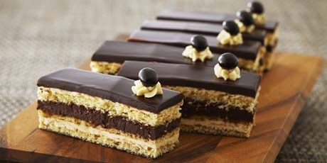 Opera Torte from Food Network. Likely France's answer to Tiramisu, an Opera Torte is layers of sponge cake with Coffee Buttercream and a Chocolate Ganache. This will be great one cold, wintry night when you need something to keep you awake past 7pm!