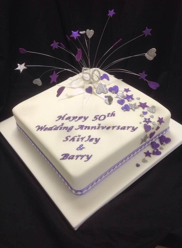 Lilac 50th birthday cake with starburst and heartburst