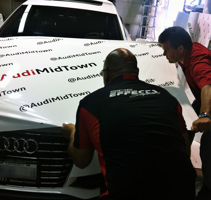 Midtown Audi receiving a full wrap on a beautiful A7 in preparation for their attendance at the Toronto International Film Festival. Graphics manufactured and installed by Side Effects Graphics.