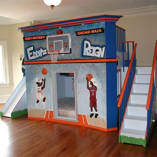 Basketball stadium double loft bed basketball fun for Basketball hoop for kids room