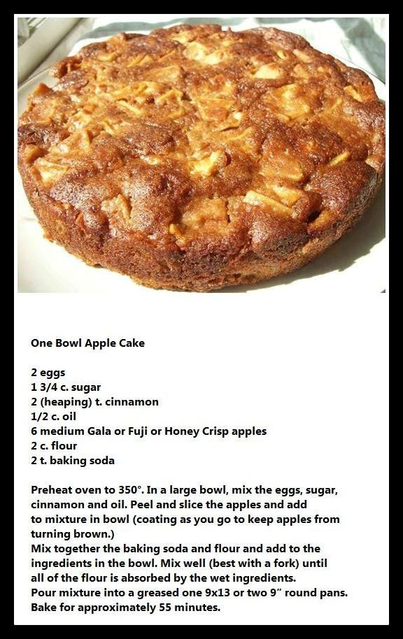 One Bowl Apple Cake - I added 1/2 t. Sea salt to the recipe. Also, English walnuts, chopped, would be…