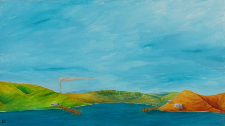 Outpost 51 x 91 cm #pillbox #coast #newzealand #art #paintings #brycebrown