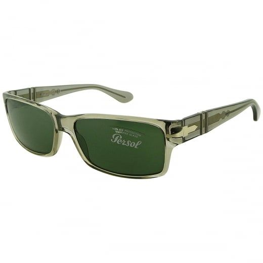 Persol Men's Transparent Grey Rectangular Sunglasses With Meflecto Flexi Stem And Green Crystal Lenses. Model Number: 2803-S 309 31. Drawing on a strong Italian heritage in craftsmanship, these vintage inspired men's Persol sunglasses feature meflecto flexi stem and real glass lenses. A classic choice with enduring appeal.