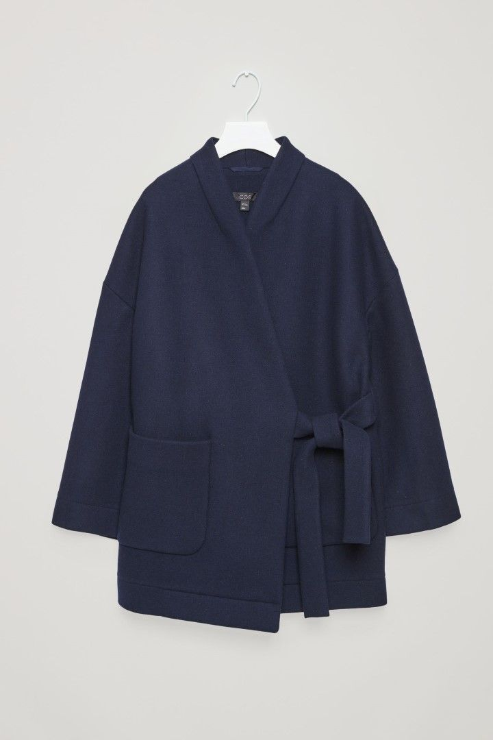 COS image 2 of Wool kimono coat with side tie  in Navy