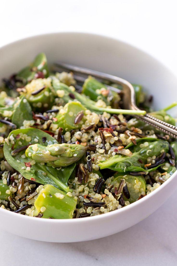 Asparagus Wild Rice Quinoa Salad With Lemon Turmeric