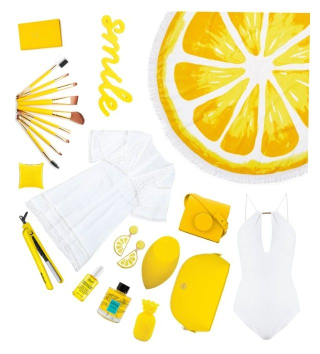 """""""Yellow Tropical Set"""" by clarinetist14 ❤ liked on Polyvore featuring Nordstrom Rack, Melissa Odabash, Lemaire, Celebrate Shop, Tory Burch, Lorion, Kiehl's, Uma Oils, Sunnylife and Surya"""