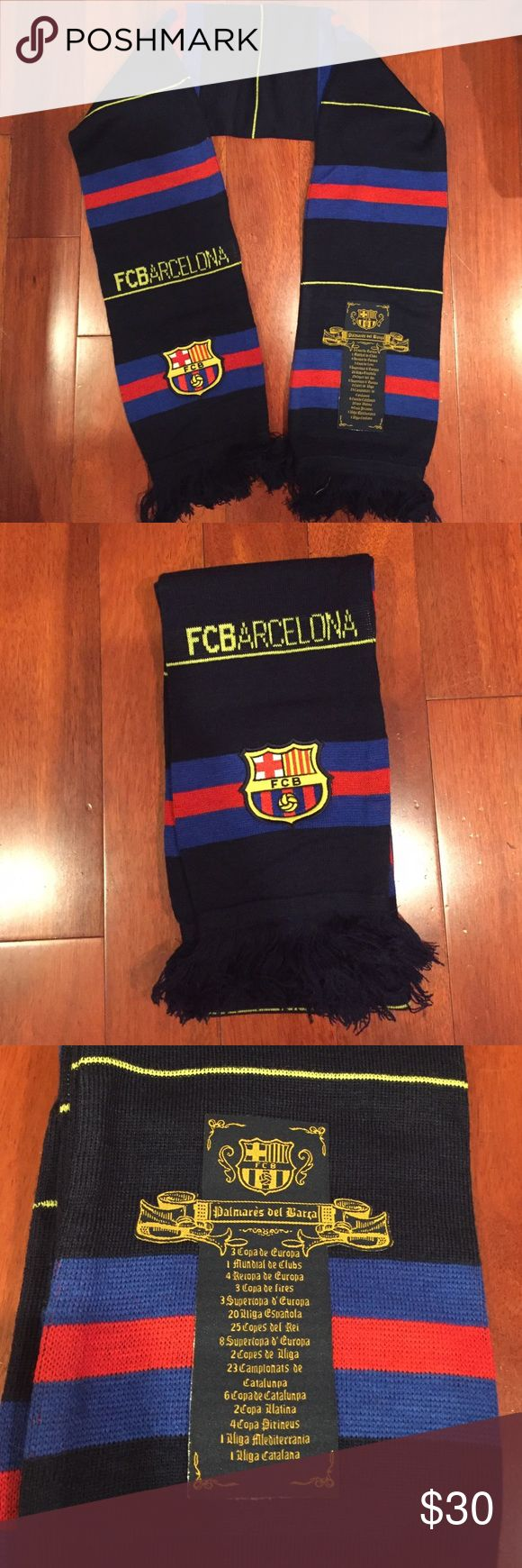 "Official FCB Barcelona scarf NWOT FCBarcelona scarf. Bought at the official store. 53"" in length plus 2"" of fringe at each end. 100% polyester Accessories Scarves & Wraps"