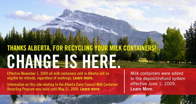 Show everyone you have a crush on Alberta! Crush and recycle your empty milk containers!  Thanks to people all over Alberta, millions of empty milk containers are being recycled and turned into other useful products. Yes, thanks to you, we are now recycling 60% of the plastic milk jugs and nearly a quarter of the cardboard milk cartons.   http://milkcontainerrecycling.com/AB