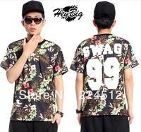 Miss Chen New spoof Hawaii Summer Baseball Style 99 SWAG flower petals Men's short sleeve T-shirt TEE