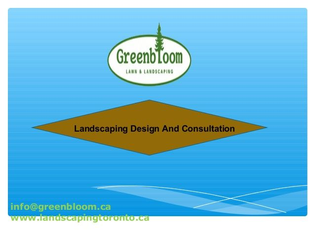 Greenbloom Landscaping is dedicated to providing the highest levels of landscaping products and services to the people of Toronto. Contact Us:Greenbloom Landscape Design Inc., 500 Lawrence avenue west, Lawrence Plaza, City:Toronto, State:Ontario, Zip:M6A 3B7, Phone:647-500-5263, Fax:416-551-9854, WEB:www.landscapingtoronto.ca   http://www.slideshare.net/GreenbloomLand/landscaping-design-and-consultation