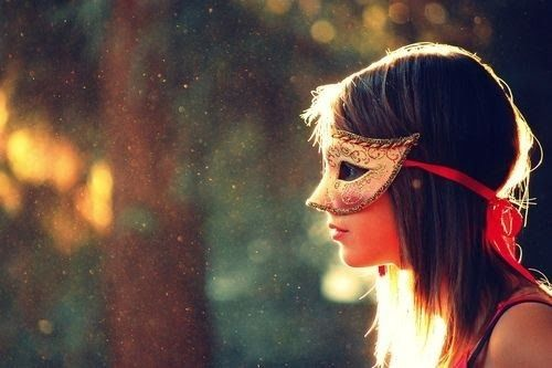 beautiful colors + mask, I love how the sun is highlighting her hair