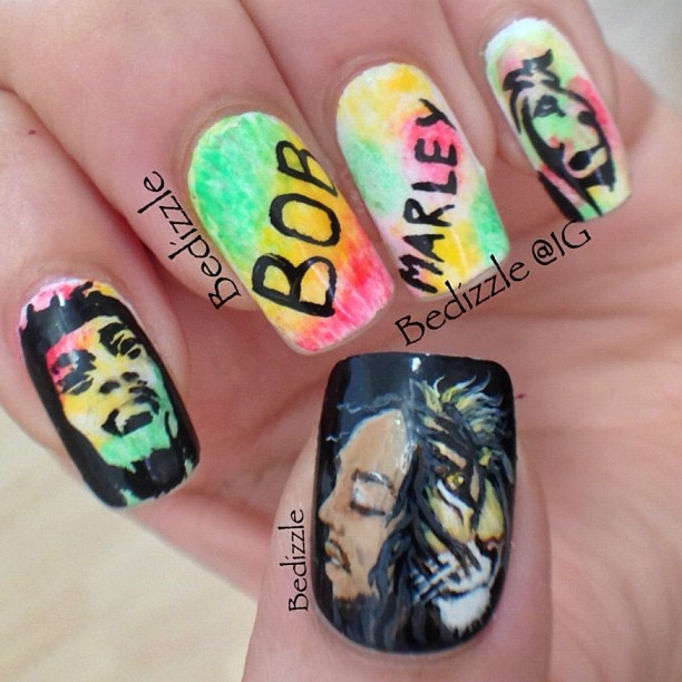 """@bedizzle's photo: """"#bobmarley nails.. I haven't done detailed nail arts in a while.. Hope you guys like it"""""""
