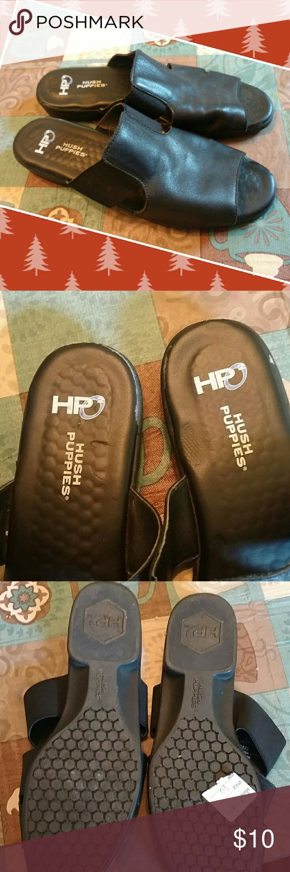 Leather hush puppies sz 10 Preloved black leather sandals in very good condition. Sz ten Hush Puppies Shoes Sandals