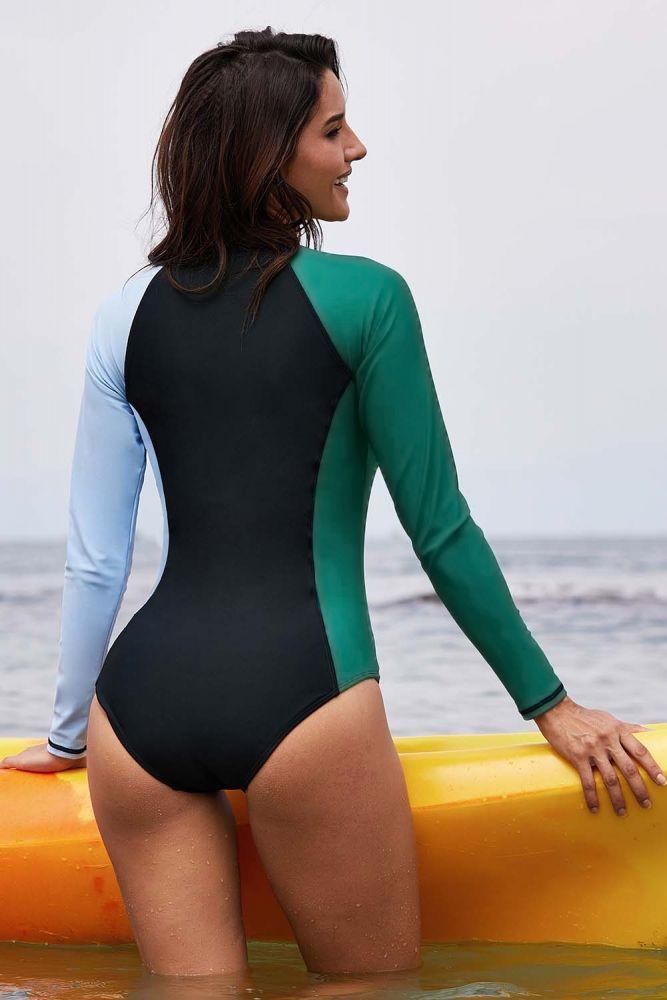 122a1f6f17d4e US$ 7.48-Asymmetric Long Sleeve Color Block Surfing Rashguard Dropshipping