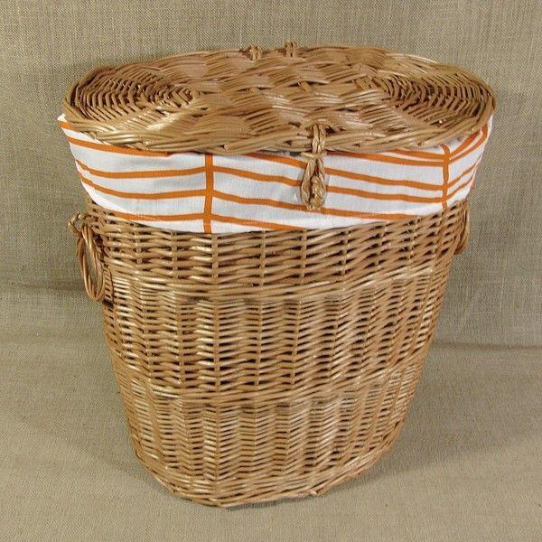 Wiklinowy kosz na pranie z obszyciem - wzór pomarańczowy zygzak