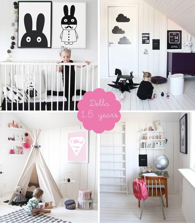 my room: della | black and white monochrome girls bedroom