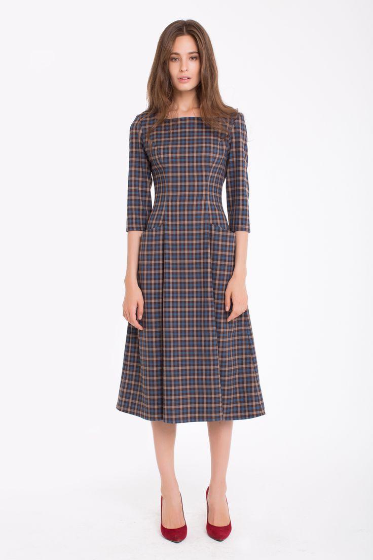 1743 Платье миди коричневая клетка с объемными карманами купить в Украине, цена…