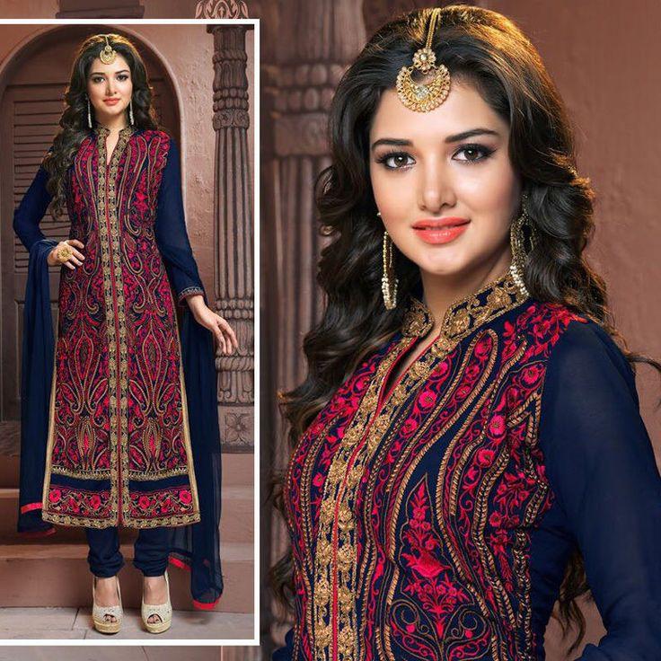 indian embroidered bollywood wedding party pakistani salwar kameez suit dresses #Handmade #salwarkameez #Festive