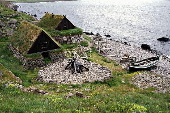 Replica of an old fishing outpost outside Bolungarvik, Iceland.