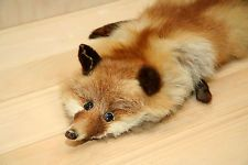 Fox Fur Stole - 1940's Vintage Red Fox Pelt with Glass Eyes -Scarf Boa Cape Wrap