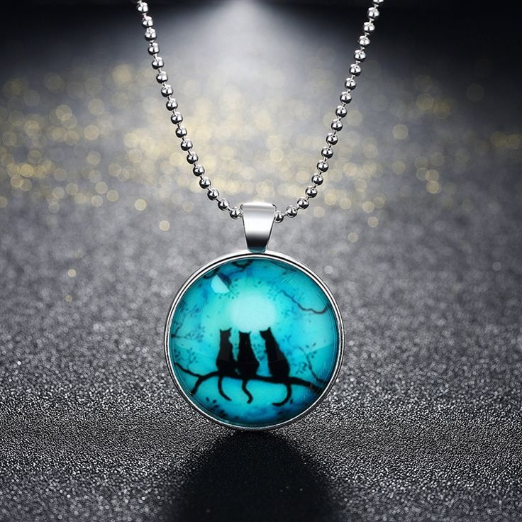 60cm Ball Chain Halloween Style Cat Glowing Glass Cabochon Pendant Necklace Steampunk Jewelry for Women & Men