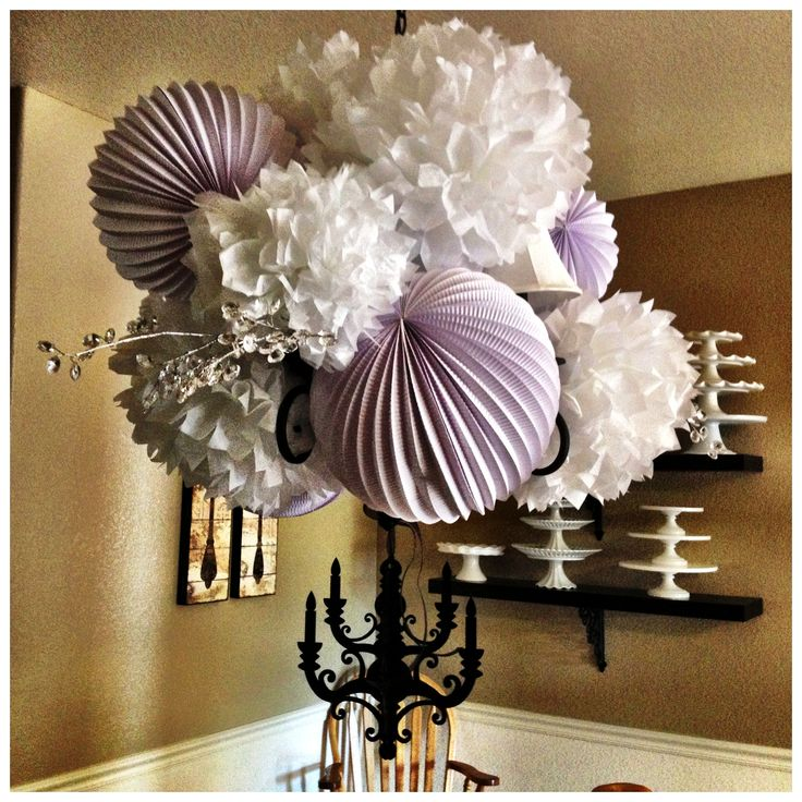 My Paper Bouquet I Purchased The Tissue Pom Poms At Hobby Lobby 50 Lantern Chandelierthe
