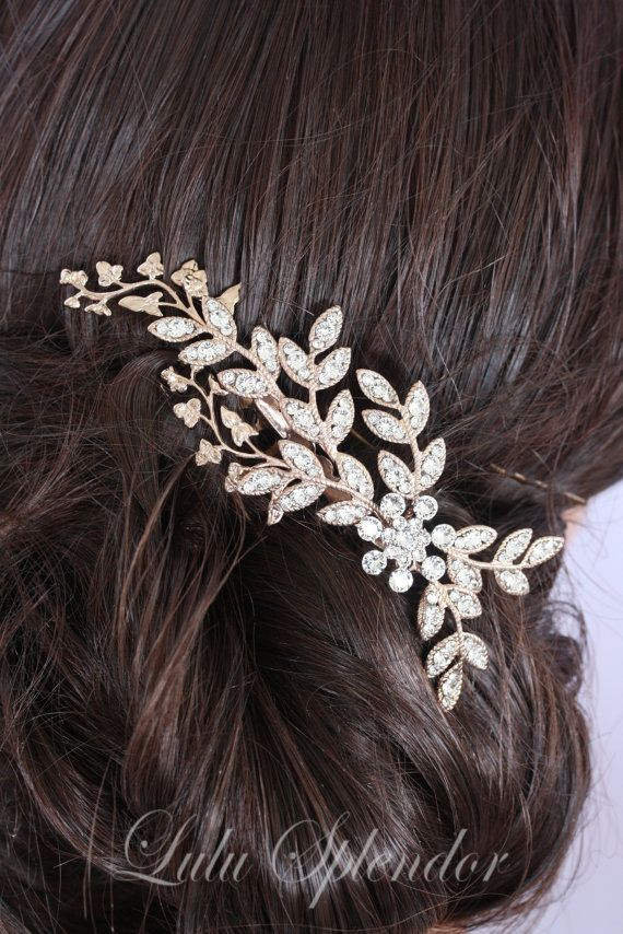 Rose gold Bridal Comb Wedding Hair comb Crystal by LuluSplendor For more wedding inspiration check out our blog www.creativeweddingco.com.