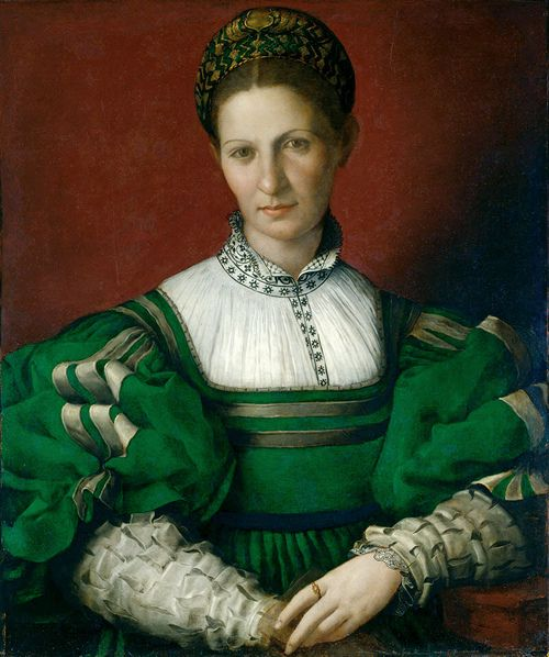 Agnolo Bronzino - Portrait of a Lady in Green, c.1528-32, Oil on panel, 66.2x76.6 cm, Recently cleaned, hence the lovely bright tones, Royal Collection, Windsor Castle, London.