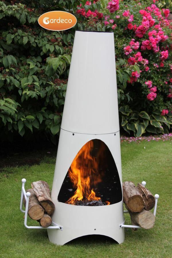 Oslo Steel Chiminea Fireplace in Ivory (Large)   ChimineaShop.co.uk