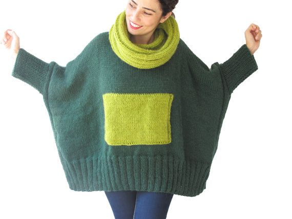 Green - Lime Green Hand Knitted Sweater with Accordion Hood and Pocket Plus Size Over Size Tunic - Dress Sweater by Afra