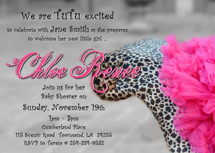 tutu and leopard print baby shower invitation for girl