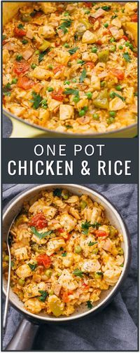 This one pot chicken and rice dinner is the perfect weeknight dinner solution, easily incorporating any leftovers in one healthy and tasty dish. southern chicken and rice, spanish chicken and rice recipe, one pot meal, casserole, crockpot, soup, creamy, easy, baked, cheesy via @savory_tooth