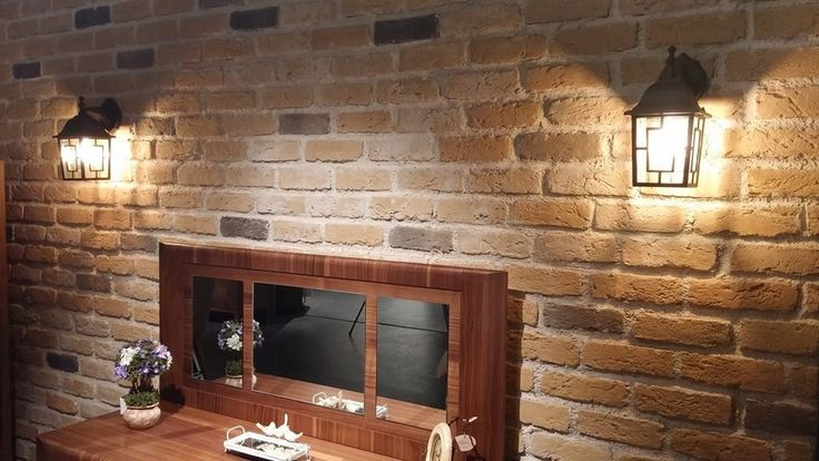 Cleveland Gold Brick slip cladding for the Dining Room Feature Wall