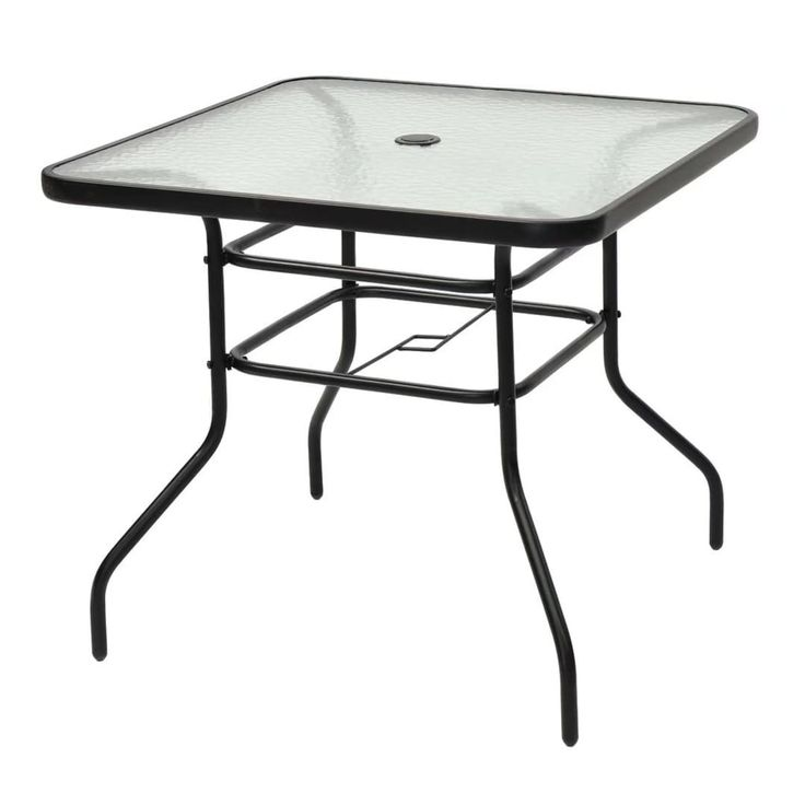 "31 1/2"" Patio Square Table Tempered Steel Frame Outdoor Yard,, Patio Furniture"