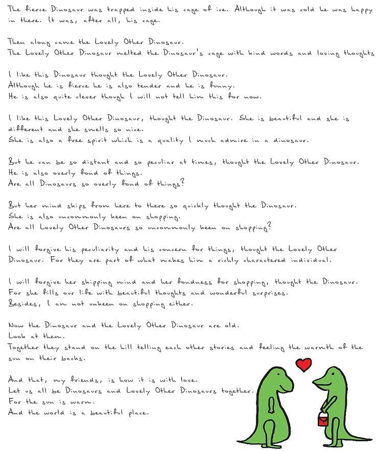 A Lovely (Dinosaur) Love Story, by Edward Monkton   When I Do - I ...
