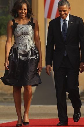 #44thPresidentObama and #FirstLady #MichelleObama was at a dinner in his honor held at Orangerie of Schloss Charlottenburg in #Berlin June 2013, First Lady dressed in a swirl-patterned Carolina Herrera frock with a buoyant skirt and bow accents on the straps. #ObamaLegacy #ObamaHistory #Obama44 #ObamaFoundation #ObamaLibrary Obama.org