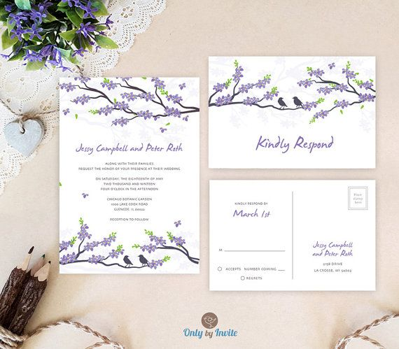 Purple Wedding Invitation Sets | Cherry Blossom Wedding Invitations And  RSVP Cards Printed On Textured Paper