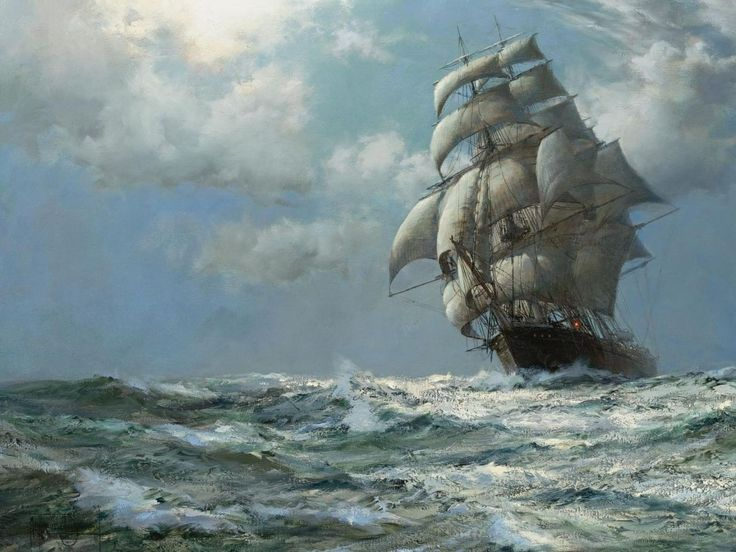 Famous Sailing Ship Paintings | paintings ocean ships artwork sail ship montague dawson 1920x1080 ...