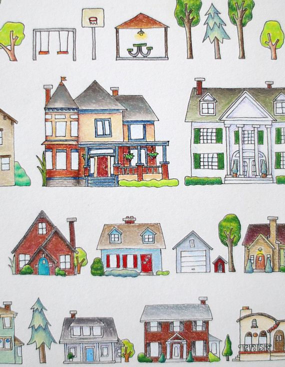 Garfield Park Neighborhood Etsy In 2020 House Illustration House Drawing Collaborative Art Projects