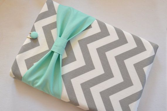 """Macbook Pro 15 Sleeve MAC Macbook 15"""" inch Laptop Computer Case Cover Grey & White Chevron with Mint Bow on Etsy, $64.99"""