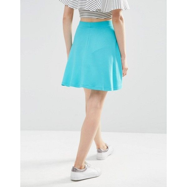 ASOS Skater Skirt with Pockets (610 RSD) ❤ liked on Polyvore featuring skirts, high waisted skater skirt, high-waisted skater skirts, high-waisted flared skirts, jersey skirt and rayon skirt