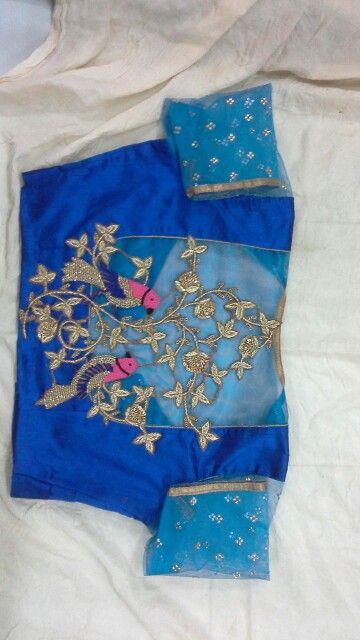 Uppada pattu blouse with gold zardosi and birds aplic work 9866583602